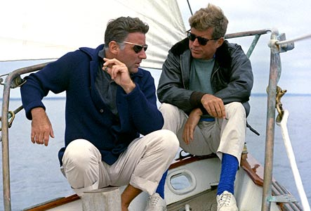 John F. Kennedy with brother-in-law, actor Peter Lawford, 1962.